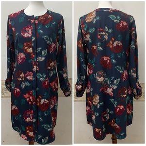 Merona Long Sleeve Floral Print Dress